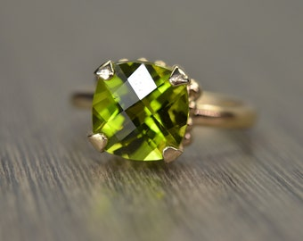 Peridot Gold Ring, 4ct cushion solitaire, solid 14k 18k gold, August Birthstone - Darcy Ring