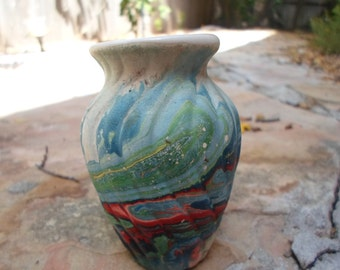 Small Vintage Red and Blue Swirl Indian Vase