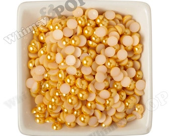 8MM - Yellow Pearl Flatback Resin Decoden Cabochons,  Half Pearl Cabochons, 8mm Flat Pearls, Flat Back Pearls, Embellishment (R3-159)