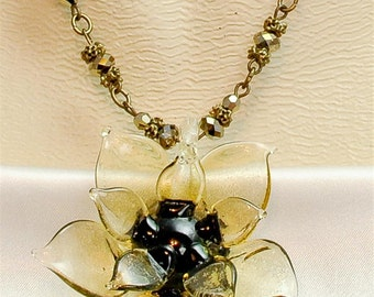 Vintage Victorian Steampunk 3-D GlassFlower Focal with Swarovski Beaded Chain Pendant Necklace