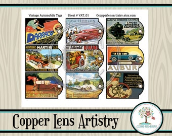Vintage Ephemera, Digital Collage Sheet, Instant Download, Vintage Cars, Digital Download, Vintage Posters, Printable, Antique Cars, Tags