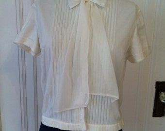50s - 60s Blouse with Sheer Overlay - Mad Men - Betty Draper