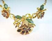 Coro Necklace. Flower Jewelry. 1939 Adolph Katz Enamel Rhinestone Art Deco Pre-WWII Design Book Piece
