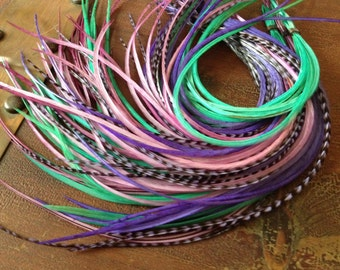 "8 XL Hair Feather Extensions, Aqua Turquoise, Rose Pink, Purple 10-12"" Loose Feather Extensions, Summer Hair Accessory Salon Feathers"