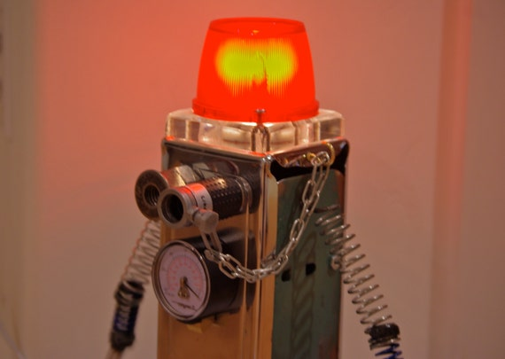 Robot Lamp Found Object Handmade Modern Bot Sculpture Nightlight Night light Metallic industrial steampunk Sculptures Artwork 3D Art minion