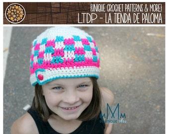 INSTANT DOWNLOAD - Crochet Pattern - Patchwork Button Flap - Crochet Hat Pattern
