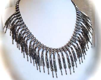 Glamourous Crystal and Hematite Chain Fringe Collar Necklace