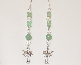 Sterling Silver green glass dangle earrings with silver tone palm tree charms, On Sale