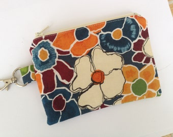 Bold Floral Small Zippered Pouch