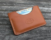 GARNY No.3 - Minimalist Leather Wallet -  Card Case - Whiskey Color  - bl