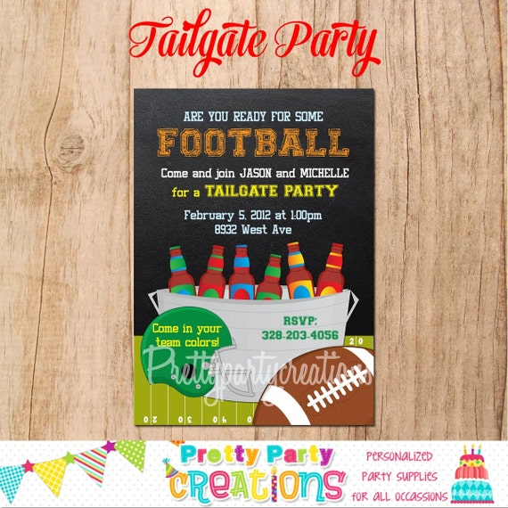 TAILGATE Party Invitation - YOU Print - Football, Superbowl By Pretty Party Creations