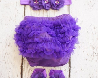 Purple diaper cover- Ruffle diaper cover- Girl Diaper cover- Bloomers- Diaper cover set- Baby girl diaper cover set- Infant bloomer