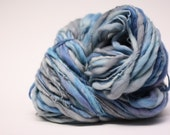 Yarn Handspun Merino Wool Thick and Thin Slub tts Hand dyed Self Striping 33c