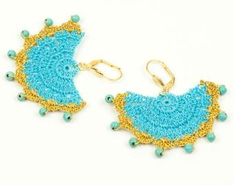 Earrings-Ethnic Style Crochet Beadwork Earrings,Semicircle Statement Earrings,Gold Turquoise,Hittites Sun,Dangle Earrings