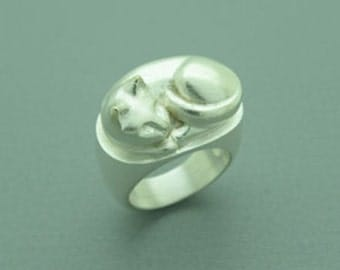 cat sterling silver ring