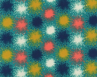 August Dandelion in Teal, Sarah Watts, Cotton+Steel, RJR Fabrics, 100% Cotton Fabric, 2005-001