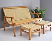 On hold for M.S. - Mid-Century Wicker Patio Set - Love Seat and Footstools