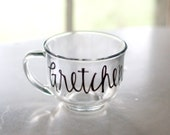 custom name glass mug - bridesmaids gifts - black calligraphy lettering - cups