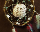 Dream Catcher- Swept Away- White Willow Dream Catcher with a Sea Shell and stone Beads- Made to Order