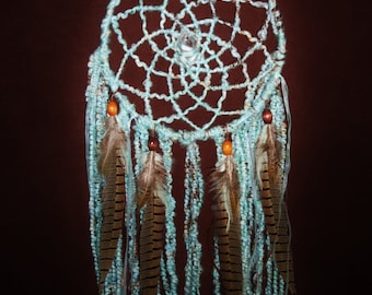 Dream Catcher- Floating on Cloud 9 - Large Yarn Dream Catcher with a Quartz Crystal Made to Order