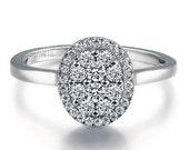 Cluster Settings Round Shape Diamond Engagement Ring 14k White Gold or Yellow Gold Art Deco Diamond Ring
