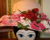 Pink Multi-flowered Straw Garden Party Hat