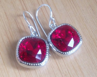 Siam Red Swarovski Crystal Drop Earrings – Cushion Cut – Sterling Silver or 14K Gold Filled Ear Wires