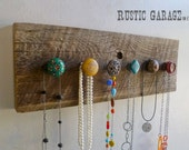 One of a Kind - Rustic Knob Necklace Holder on Reclaimed Barnwood - Eclectic Shabby Chic Jewelry Holder - Jewelry Organizer - Wall Rack