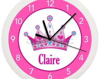 Personalized Pink CROWN Princess Wall Clock