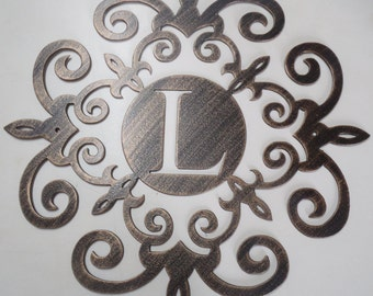 Family initial, 30 INCHES Monogram inside a Metal Scroll with ANY letter,  Wall decor, Metal Art