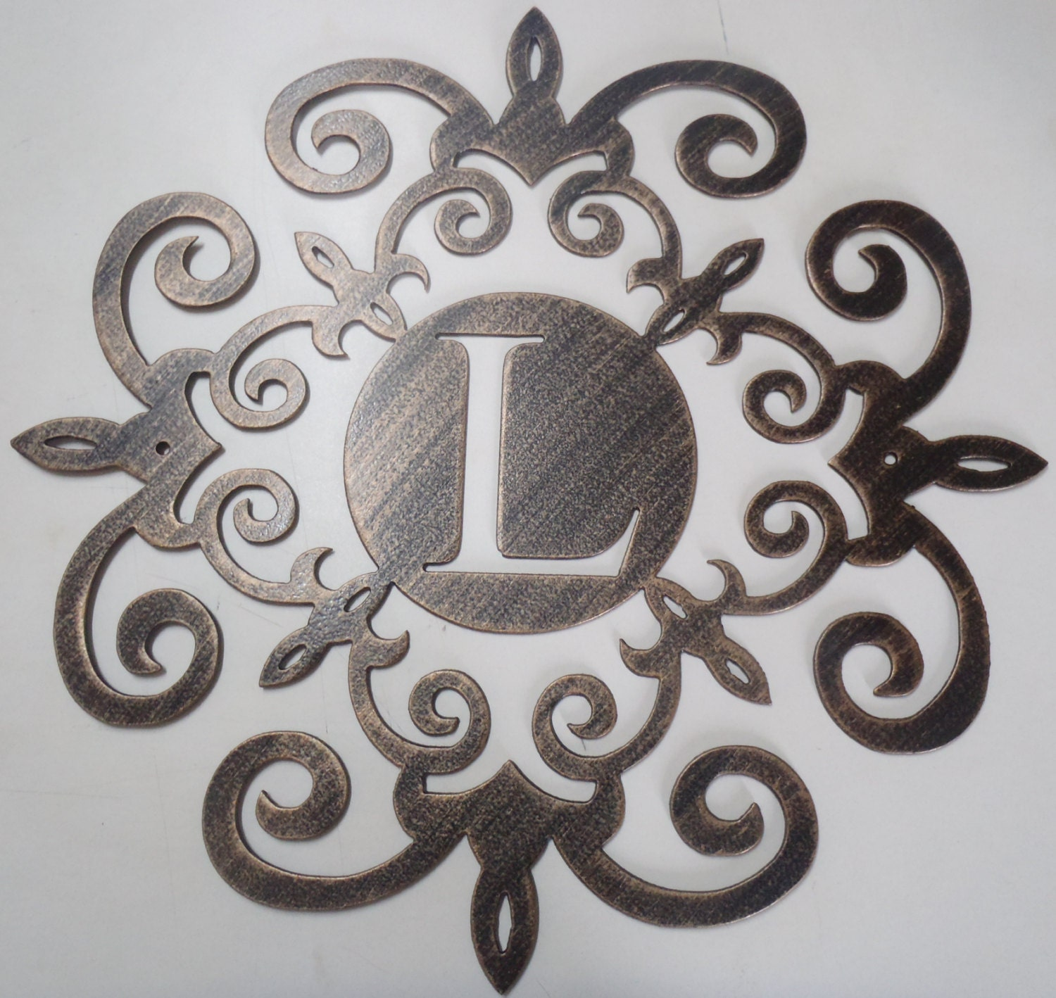 Family initial 30 INCHES Monogram inside a Metal Scroll with