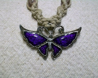 Butterfly Hemp Necklace, Large, 6 Color Choices