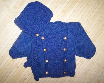Hand Knit Blue Baby Sweater and Hat