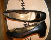 Vintage1980s ETIENNE AIGNER Genuine leather flat shoes w/1 inch patent chunky heels.Gold 50s squareToe decor.Rare AE Name written out