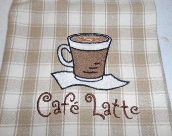 Cafe Latte Embroidered Brown White Plaid Kitchen Towel