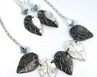 Silver Leaf Art Metal and Swarovski Crystal Necklace and Earrings