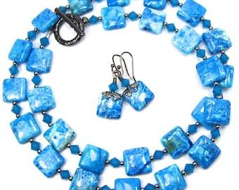 Blue Crazy Lace Agate Gemstone and Caribbean Blue Opal Swarovski Crystal Necklace, Gunmetal Finish