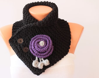 Neckwarmer Crochet scarf  with removable flower  brooch ,  crochet scarf in black with purple flower brooch