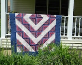 RESERVED - Vintage Red, White and Blue Log Cabin  Quilt