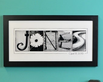 Personalized Name Print in B&W, FRAMED  alphabet photography, photo name art