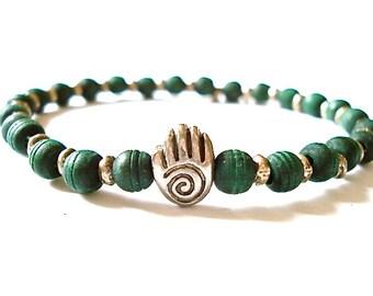 Olivewood Mala Bracelet, Olivewood Beads, Spiral Hand Charm, Beaded Bracelet for Yoga or Meditation