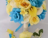 "17 Piece Package Wedding Bridal Bride Maid Honor Bridesmaid Bouquet Boutonniere Corsage Silk Flower YELLOW TURQUOISE MALIBU ""Lily Of Angeles"