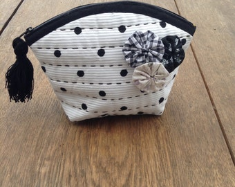 Zipper Pouch - Black-and-white Cosmetic Bag with polka dots