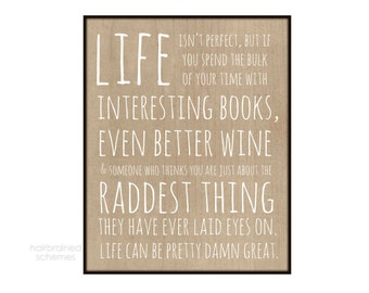 Rad Inspirational Typography Poster - Modern Love Life is Good Typography Digital Art Tan Brown Kraft Wood Grain Pattern Faux Bois