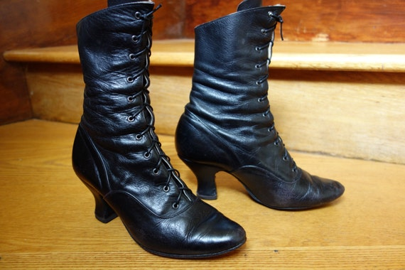 Gamba of London Victorian character black leather lace up high top dance boots shoes vintage costume CanCan Burlesque Steampunk Mary Poppins