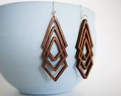 Laser Cut Walnut Wood Geometric Earrings