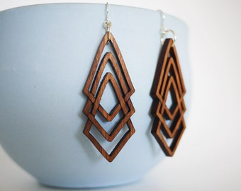Laser Cut Walnut Wood Geometric Earrings
