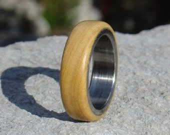 Wood Ring Size 5 1/4 - Olive wood and stainless steel ring