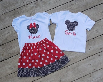 Brother and Sister Disney Outfit - Girls Skirt with Personalized Minnie Mouse Ears - Boys Mickey Mouse Ears