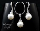 Pearl Wedding Jewelry Bridal Earrings Pearl Bride Necklace Swarovski Pearl Wedding Earrings Bridesmaid Gift Pearl Pendant CZ Bridal Jewelry